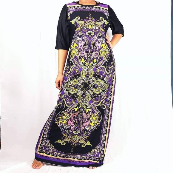 AYABA COLLECTION Dresses & Skirts - LONG DRESS WITH ABSTRACT LOZENGES PRINT